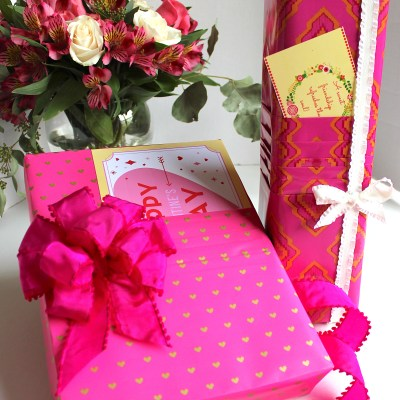 Gift Wrap Inspiration:  Pleated Paper Valentines Wrap