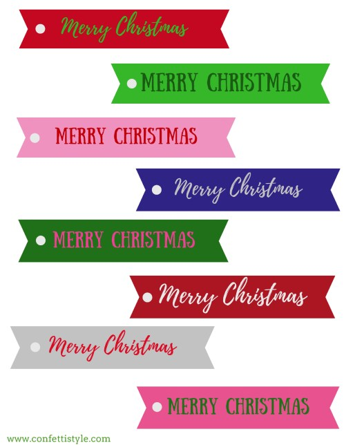 Merry & Bright FREE Printable Christmas Gift Tags by ConfettiStyle