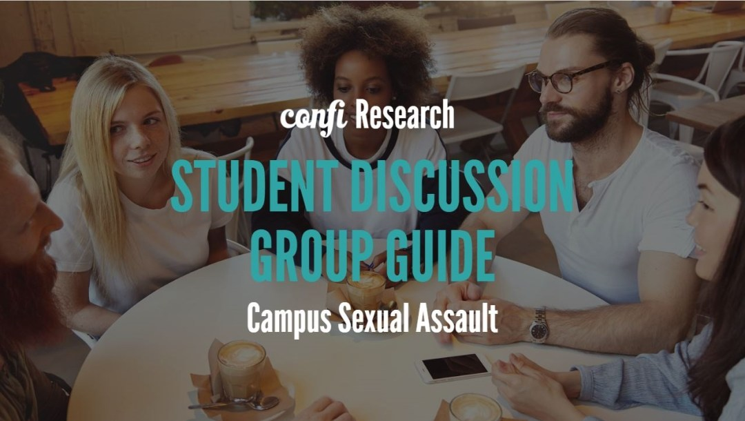 students friends at table talking, text Sexual Assault Discussion Guide