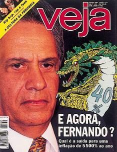 Capa Veja: E agora Fernando, sobre o então ministro da Economia com a inflação de 40% ao mês
