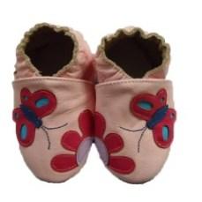 chaussons-cuir-bebe-souple-fleur-papillon-rose