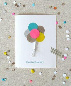 carte anniversaire ballons colorés