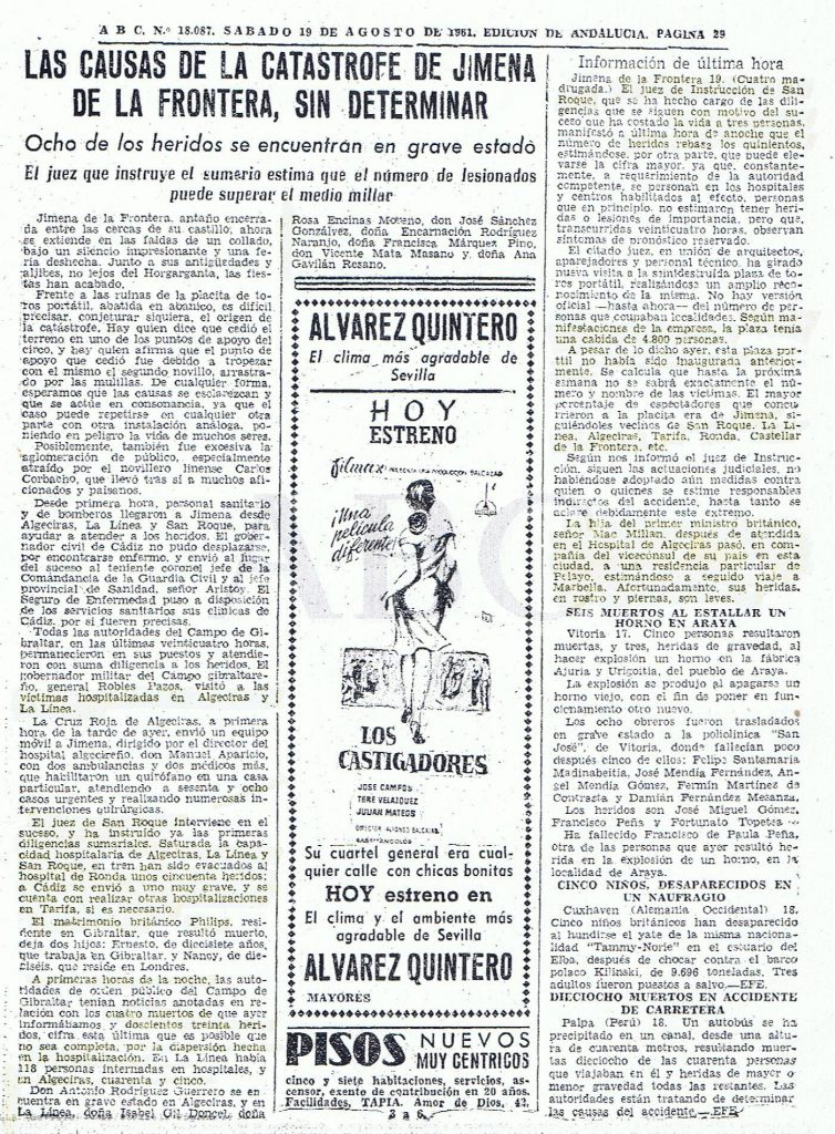 El diario ABC recoge las primaras presunciones tras el hundimiento de la plaza. 19 de agosto 1961