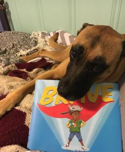brave book and dog on bed