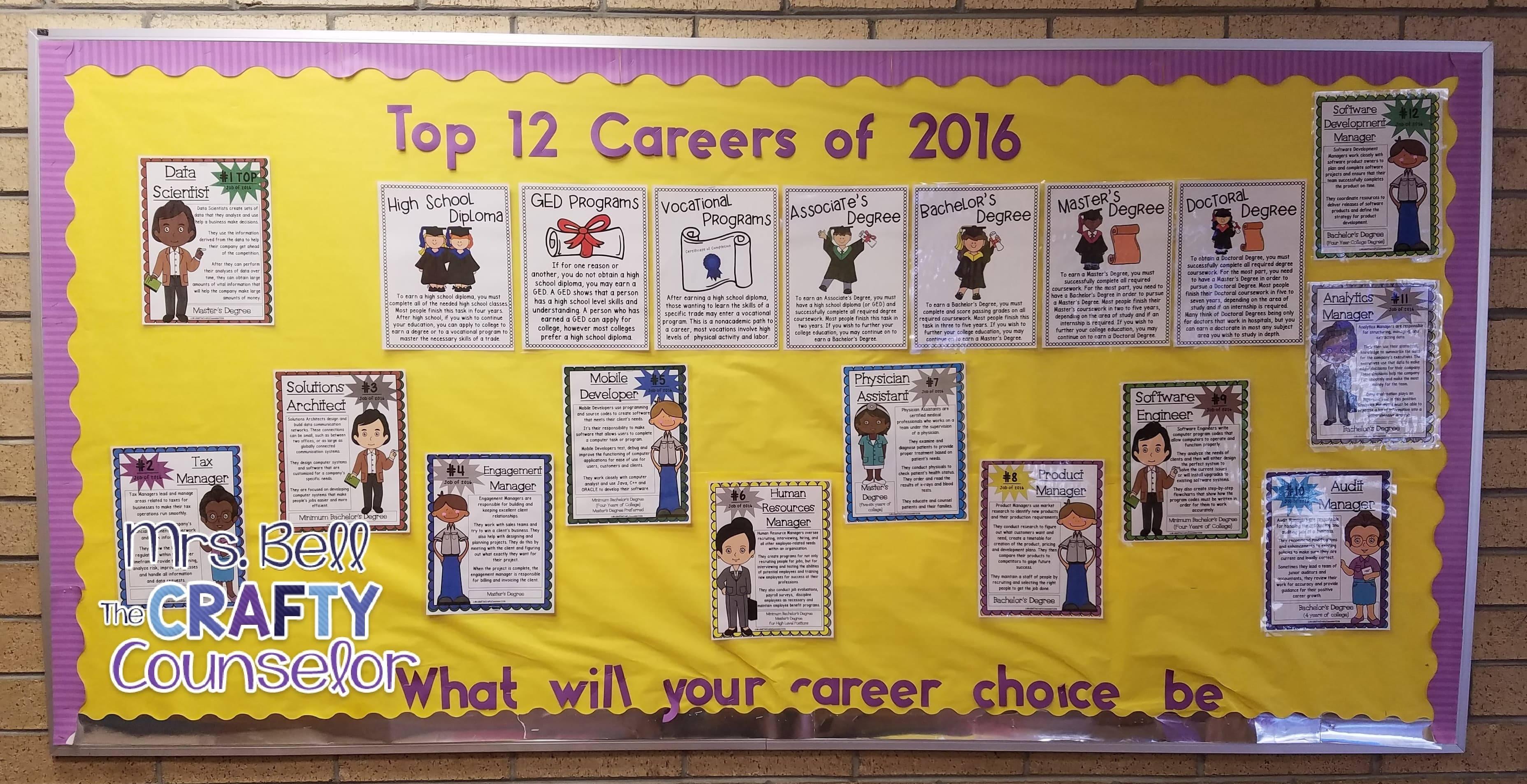 school counseling bulletin board career