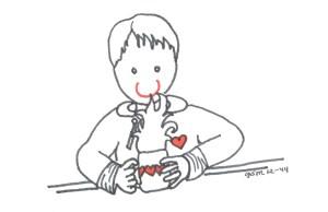 Boy smelling hot chocolate 2014 illust by Jennifer Miller