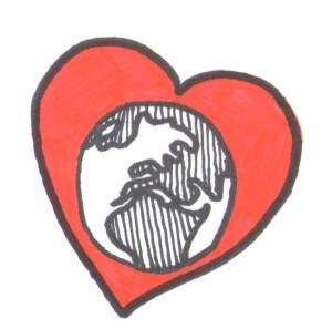 Globe in heart icon