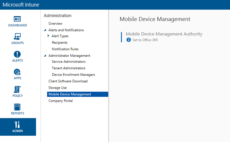 hey office 365 is the mobile device management authority