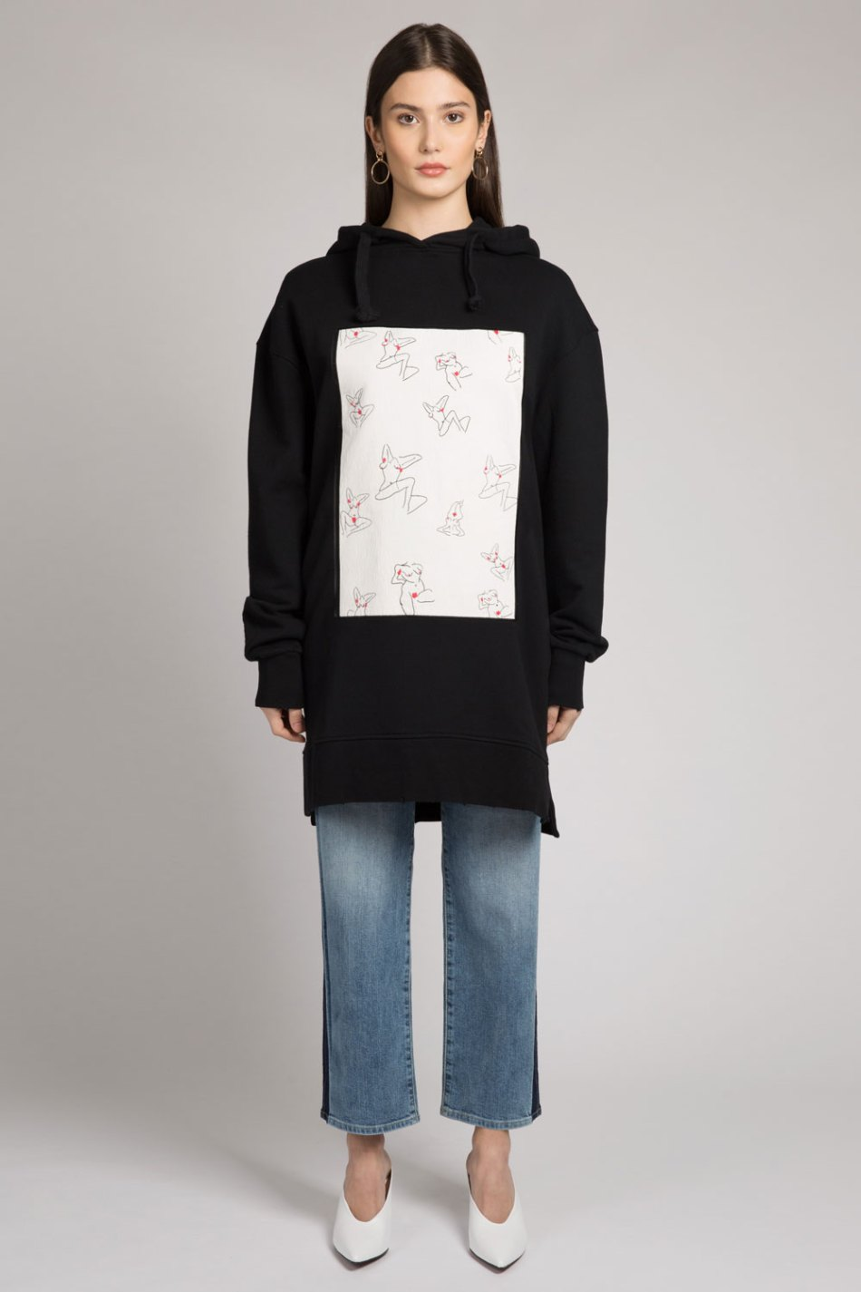 Black oversized cotton hoodie with embroidered female artist print on the front.