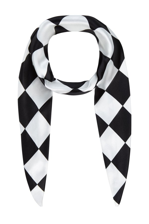 Black and white checkered print skinny silk headband or scarf