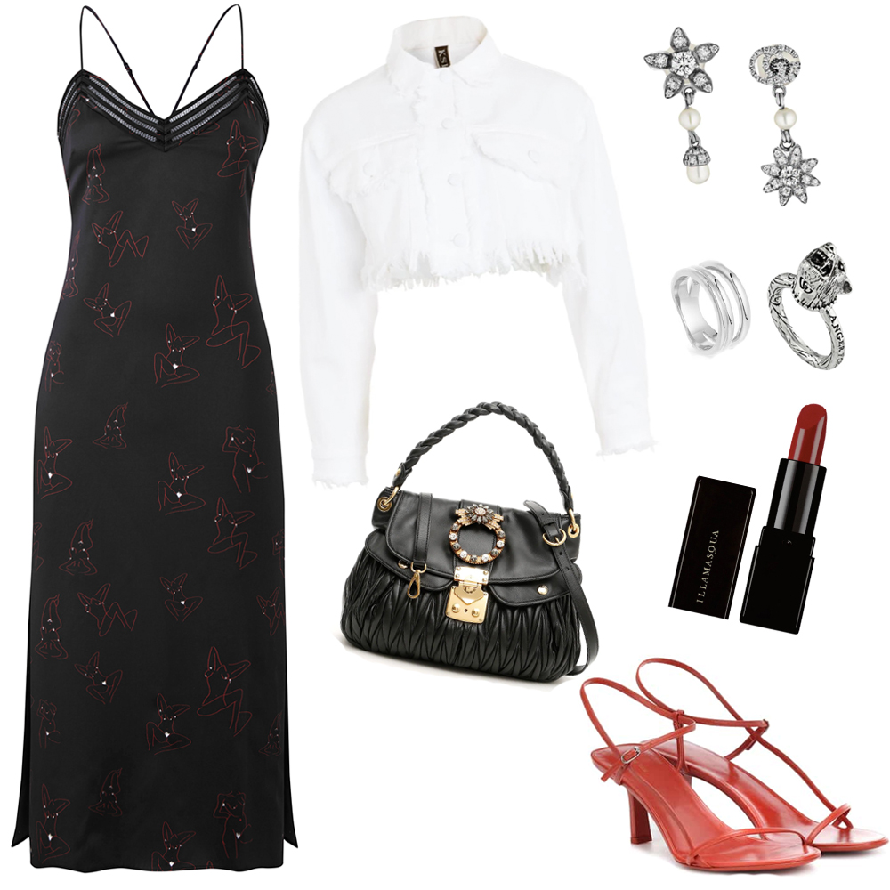 Outfit idea for the black silk Artist Dress. Which includes accessories and beauty.