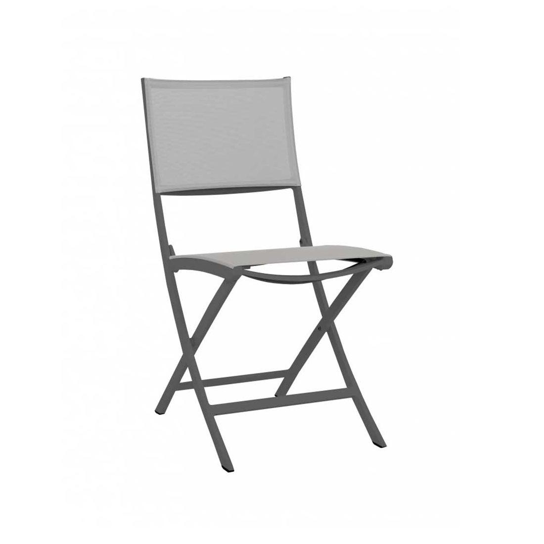chaise repas de jardin pliante amaka grise les jardins