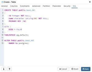 pgAdmin4 でGUIでテーブルを作成する
