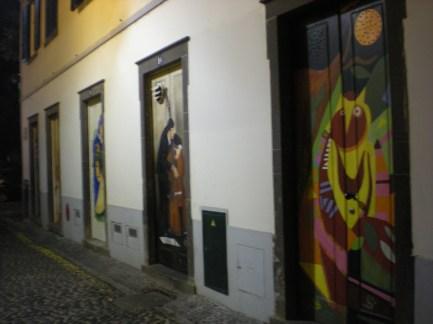 A street of colurful doors