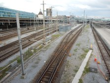 The train tracks at SBB, the Swiss railway station