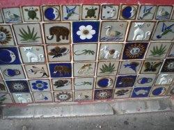 Interesting tiles outside a shop