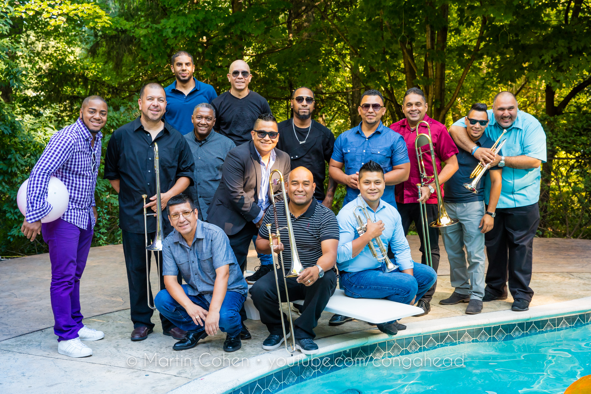 Orquesta La Ley salsa band performs at Congahead Studios