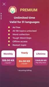 Bảng giá gói nâng cao của phần mềm học tiếng Thụy Điển