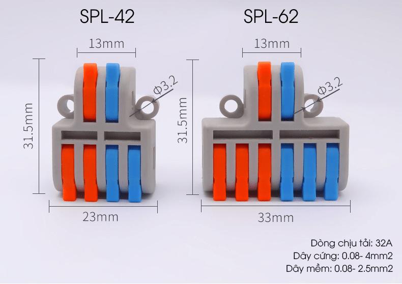 Cút nối chia dây điện 2 cực 1 ra 3 SPL-62