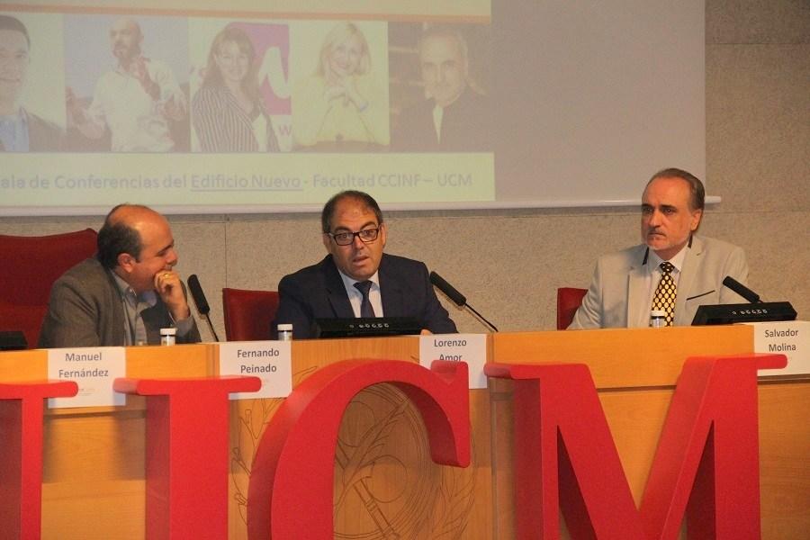 Fernando Peinado, director de MediaCom UCM; Lorenzo Amor, presidente de ATA; y Salvador Molina, presidente de ProCom y Telemadrid; en la inauguración del Congreso ProCom 2017.