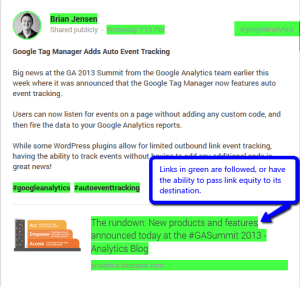 Google Plus followed links