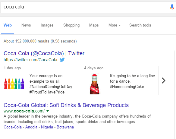 branded search for coca-cola in Google showing tweet carrousel