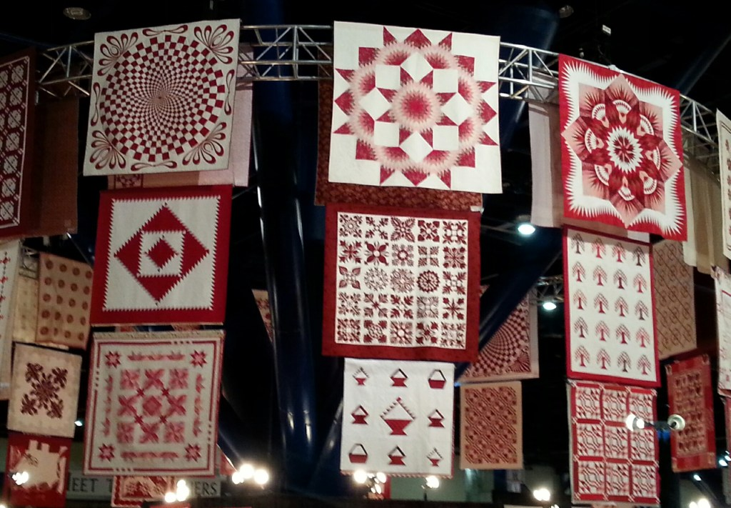 A portion of the Ruby Jubilee (40 years) quilts that were on display.