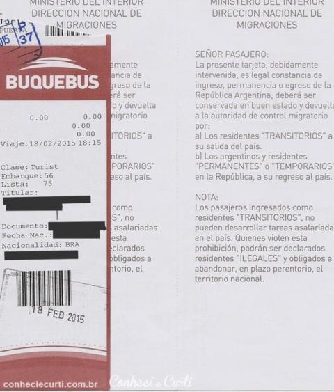 Documento de imigração - Argentina