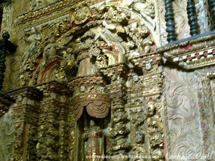 Detalhe do trabalho da Capela Dourada na Igreja de São Francisco em João Pessoa