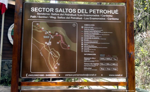 Mapa das trilhas nos Saltos de petrohué