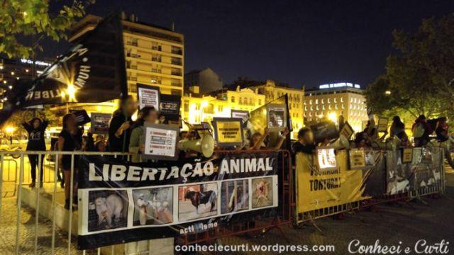 Protesto contra as touradas, em Campo Pequeno, Lisboa.