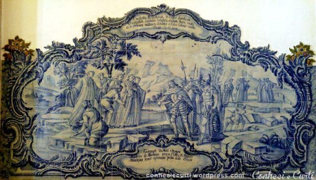 Painel da Sala dos Reis que fala da Fundação do Mosteiro de Alcobaça, onde D. Afonso Henriques lança a primeira pedra do edifício.