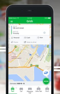 Tela do app Grab