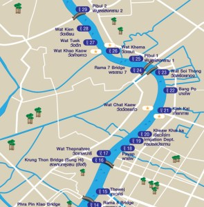 Mapa dos piers de Bangkok.