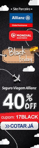 APROVEITE A BLACK FRIDAY! 40% Off no seguro viagem Allianz com o cupom 17BLACK