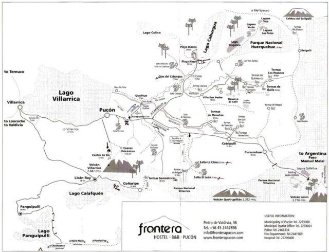 Mapa da região de Pucón, Chile.