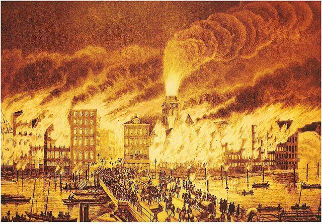 Representação artística do incêndio.
