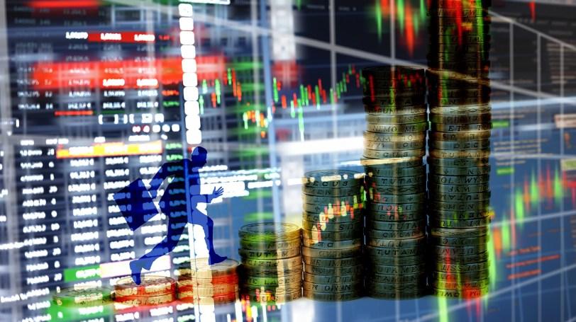 証券マンと投資グラフ