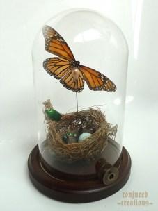 Nest, eggshell, Monarch butterfly, Thaumastopeus pugnator beetle, Antique Thimble, Antique Sewing Spool, Antique Hatpin