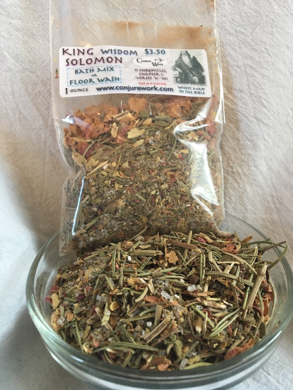King Solomon Wisdom Bath Mix - Used to gain insight and make decisions. By Magus (Kevin Trent Boswell) at Conjure Work.
