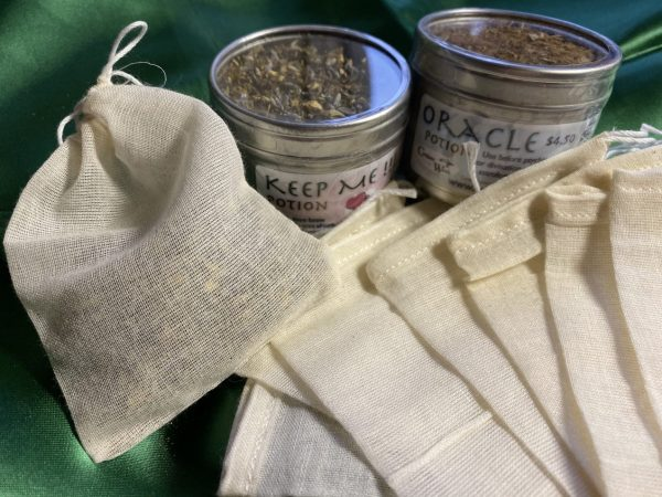 Drawstring Tea Bags, Potions, Tonics, Baths, muslin, cotton, cloth bag
