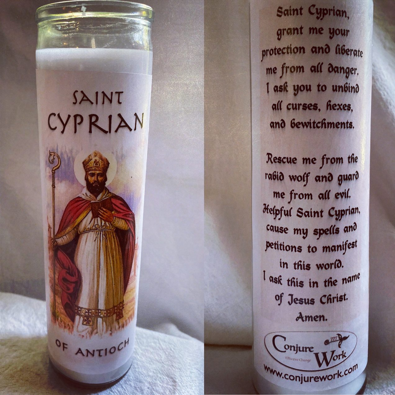 Saint Cyprian of Antioch, glass novena, 7 day candle, white, Conjure Work, sorcery supplies