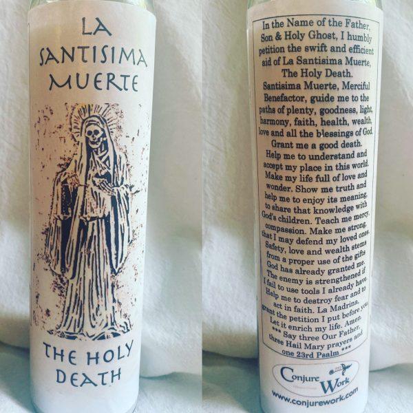 La Santisima Muerte, glass novena candle, white, Santa Muerte
