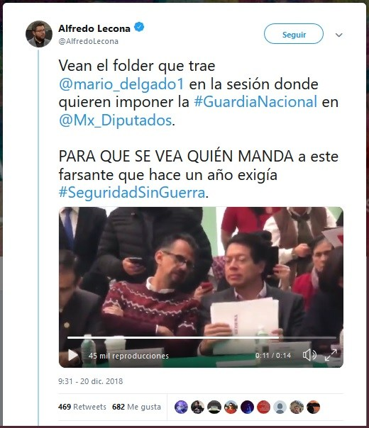 Imágen: El activista Lecona denunció en redes la posible participación directa de SEDENA en el proceso legislativo civil.