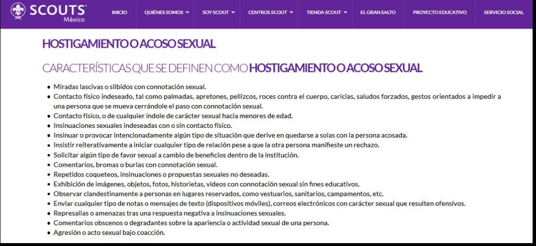Conductas consideradas como Hostigamiento o Acoso Sexual en la ASMAC a partir de marzo de 2020.