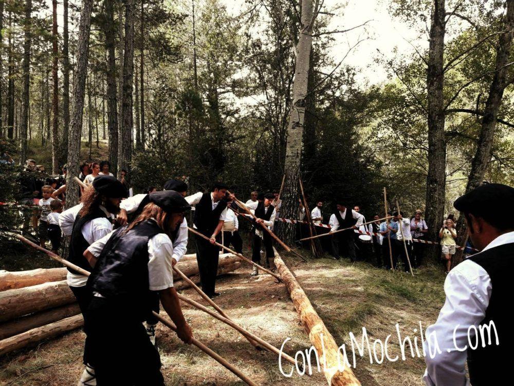 Gancheros Alto Tajo empujando los troncos al río