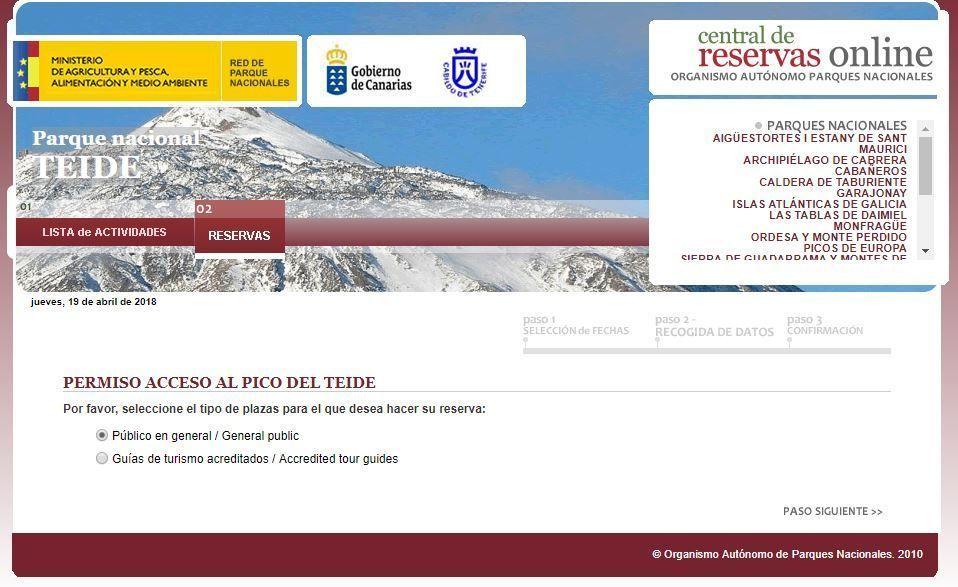 Reserva acceso al pico Teide - Tenerife