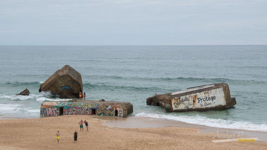 Bunkers en la playa de Capbreton - Francia