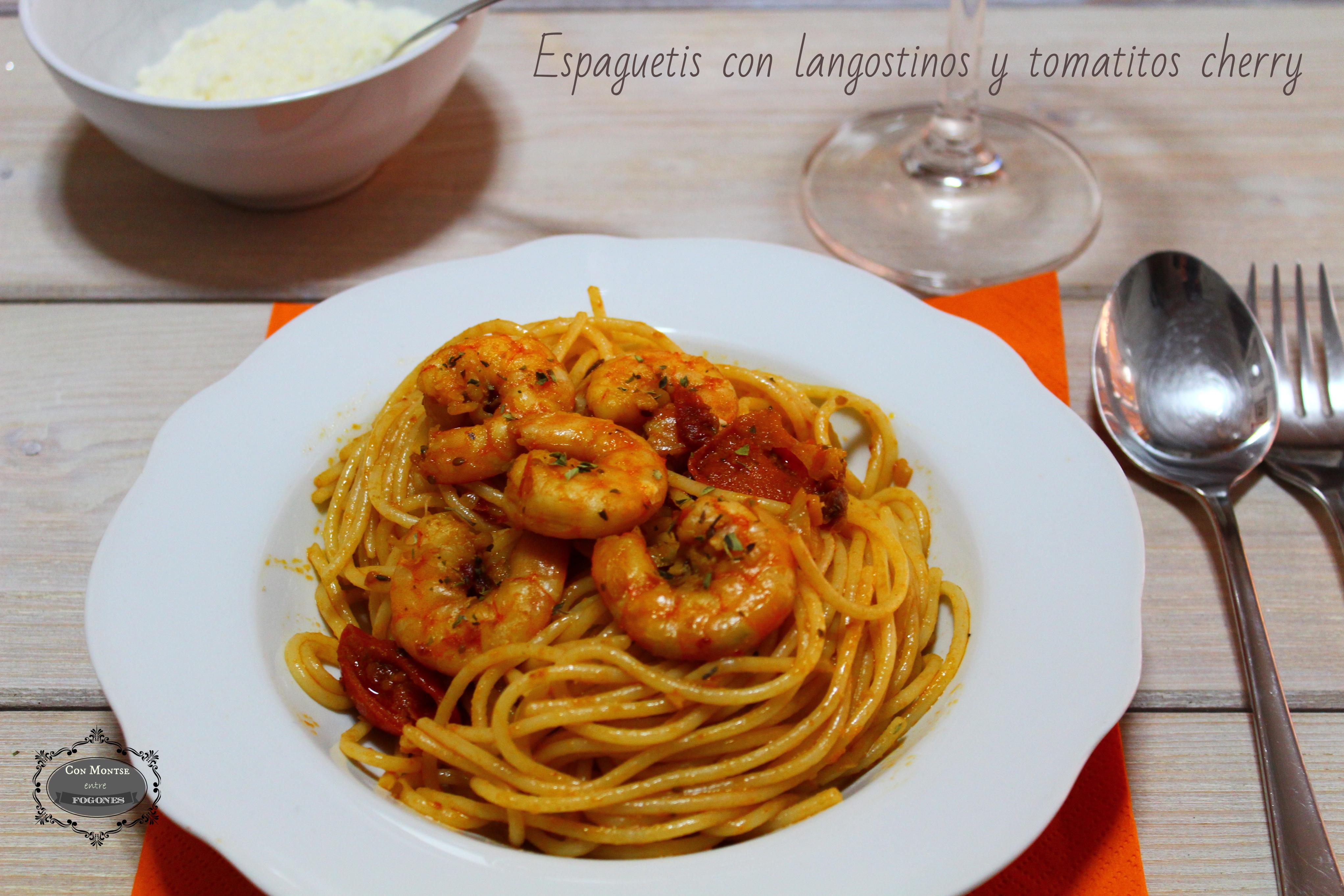 Espaguetis con langostino y tomatitos cherry III