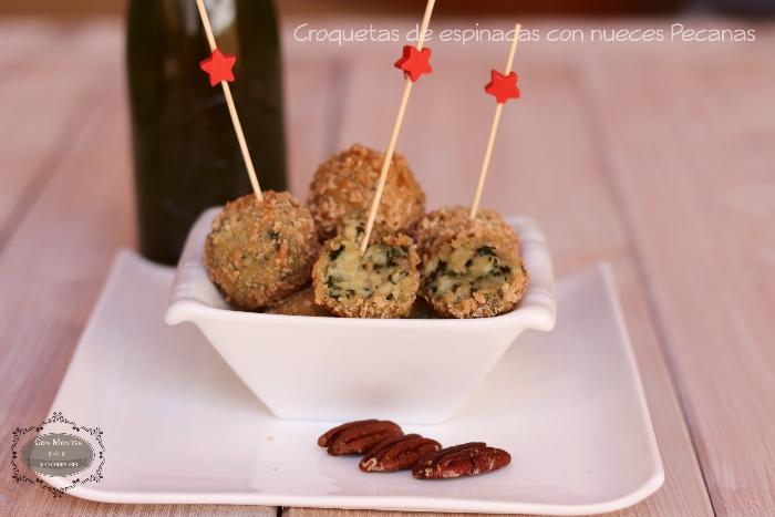 Croquetas de espinacas con nueces Pecanas